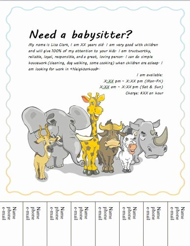 Free Babysitting Flyer Template Elegant Babysitting Flyer with Animals Templates