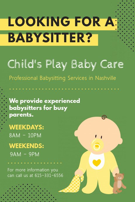 Free Babysitting Flyer Template Unique Customize 300 Babysitting Templates