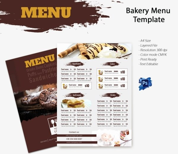 Free Bakery Menu Template Fresh Bakery Menu Template – 30 Free Word Psd Pdf Eps Indesign format Download