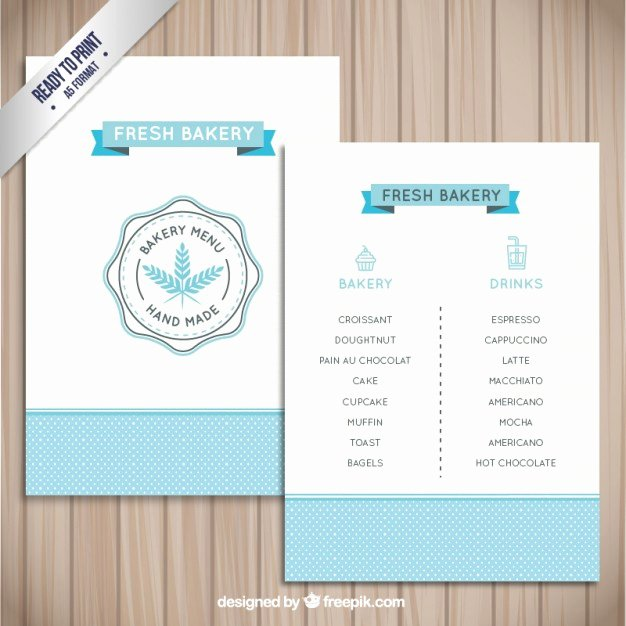 Free Bakery Menu Template Fresh Simple Bakery Menu Template Vector