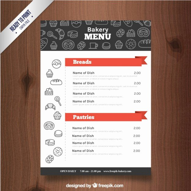 Free Bakery Menu Template Fresh Sketches Bakery Products Menu Template Vector