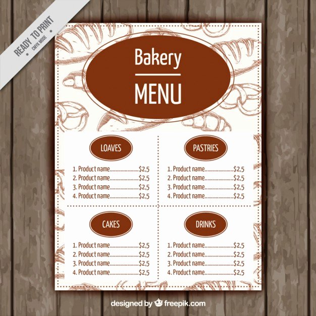 Free Bakery Menu Template Unique Bakery Menu Template Vector