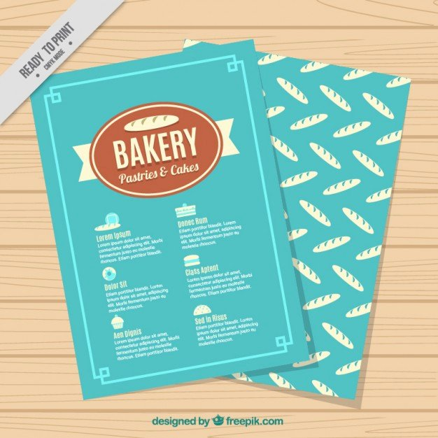 Free Bakery Menu Template Unique Blue Bakery Menu Template Vector
