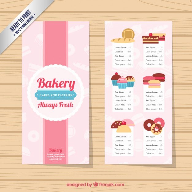 Free Bakery Menu Template Unique Cute Bakery Menu Template Vector