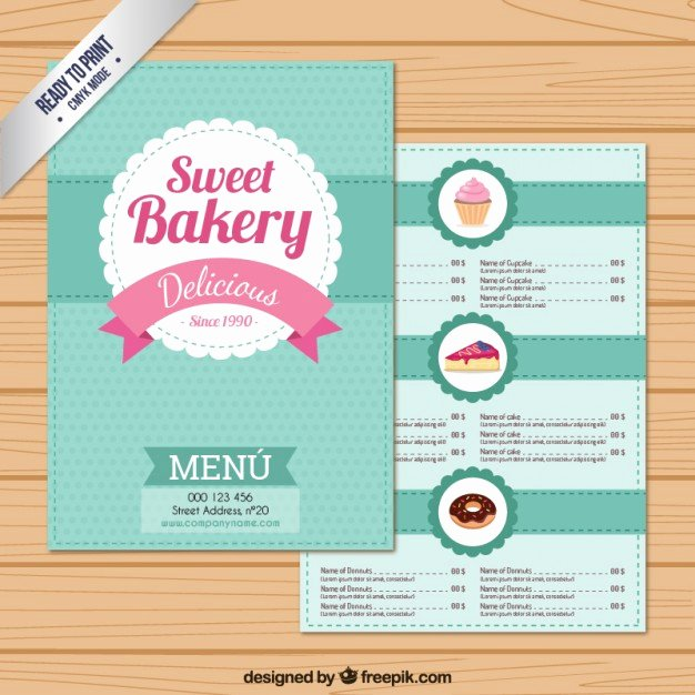 Free Bakery Menu Template Unique Sweet Bakery Menu Template Vector
