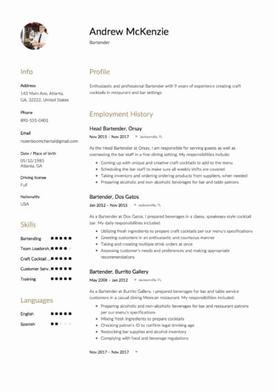 Free Bartender Resume Templates Awesome Bartender Resume [ 12 Samples] 2019