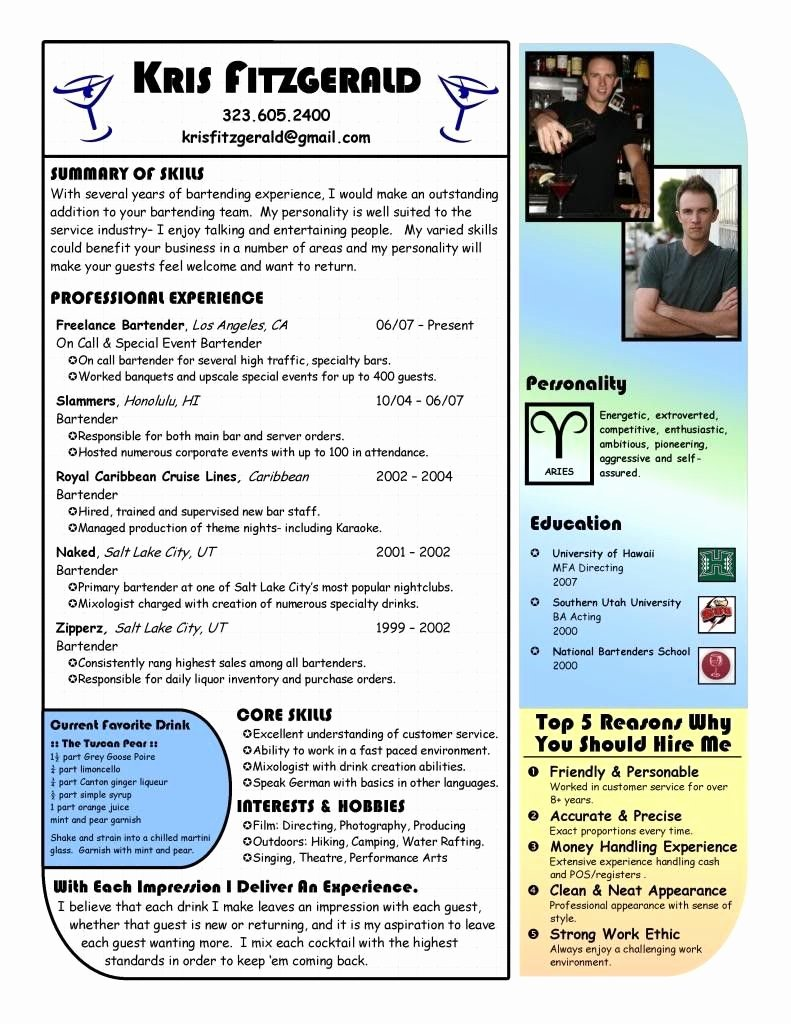 Free Bartender Resume Templates Best Of Bartender Resume Example Bartending Resume Bartender Resumes