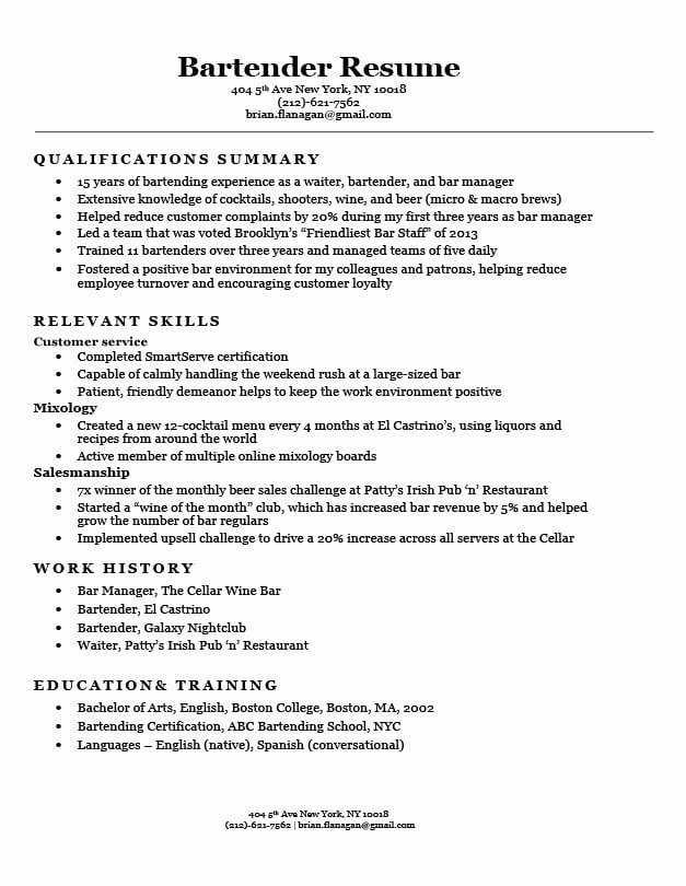 Free Bartender Resume Templates Best Of Functional Resume Examples & Writing Guide