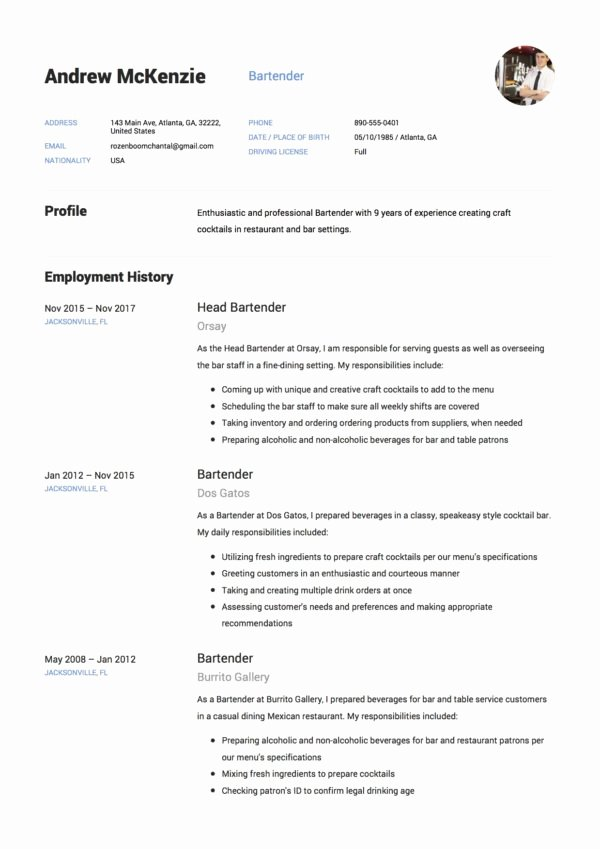 Free Bartender Resume Templates Inspirational Bartender Resume Sample 12 Creative Resume Examples