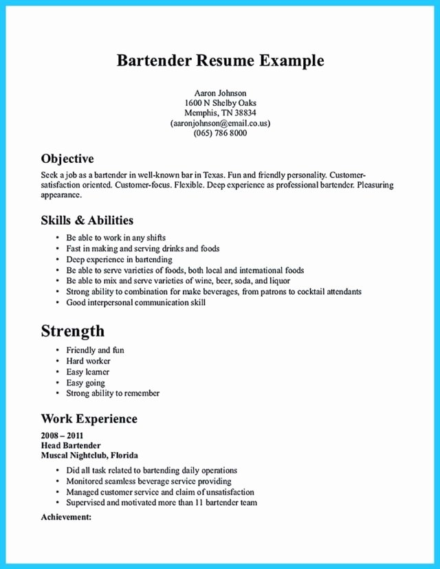 Free Bartender Resume Templates Lovely Impressive Bartender Resume Sample that Brings You to A Bartender Job