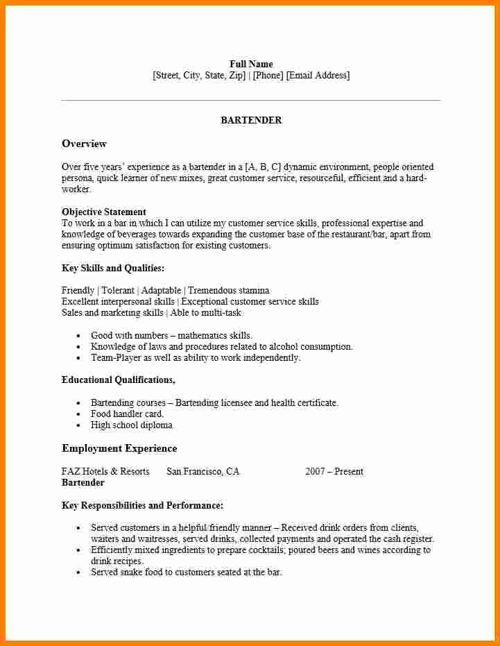 Free Bartender Resume Templates New 10 Free Bartender Resume Templates