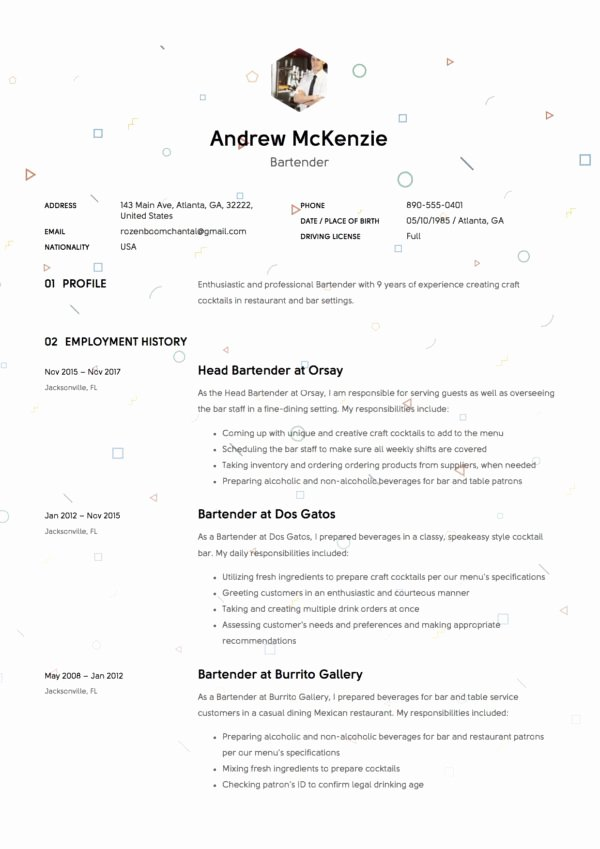 Free Bartender Resume Templates Unique Bartender Resume Sample 12 Creative Resume Examples