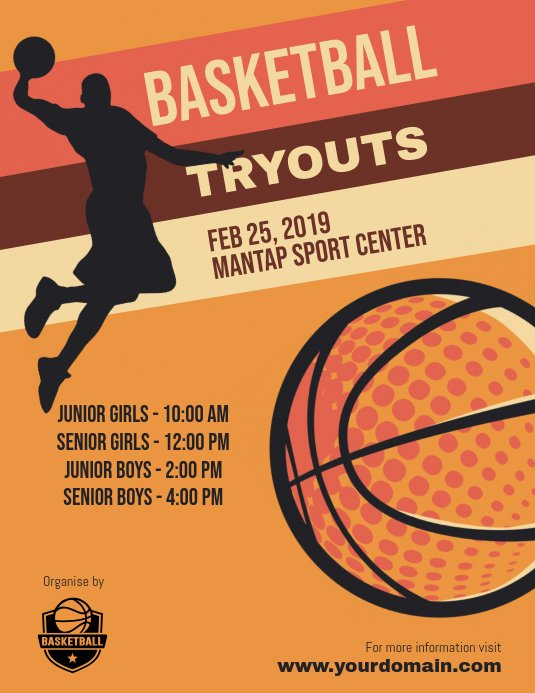 Free Basketball Flyer Template Awesome Basketball Tryouts Flyer Poster Template