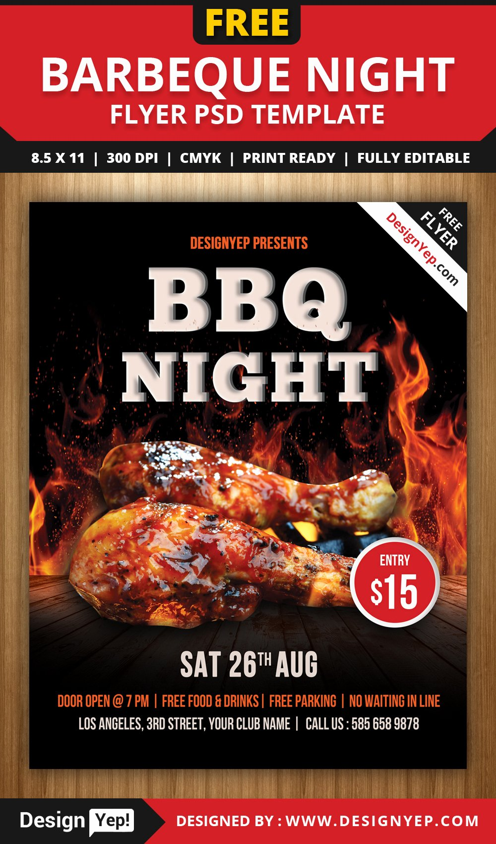 Free Bbq Flyer Template Beautiful Free Barbeque Night Flyer Psd Template Designyep
