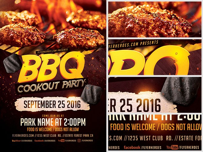 Free Bbq Flyer Template New Bbq Cookout Party Flyer Template Flyerheroes