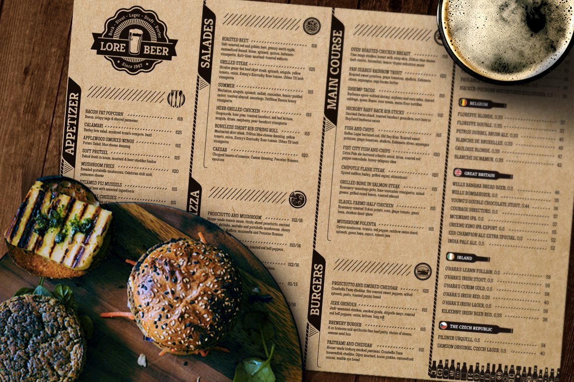 Free Beer Menu Template Awesome Lore Beer Pub Menu Layout Brochure Templates Creative