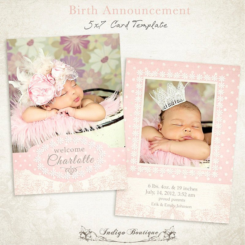 Free Birth Announcement Template Awesome Birth Announcement Template 5x7 Card Sweet Baby 011