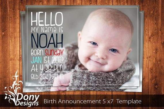 Free Birth Announcement Template Unique Buy 1 Get 1 Free Birth Announcement Neutral Baby