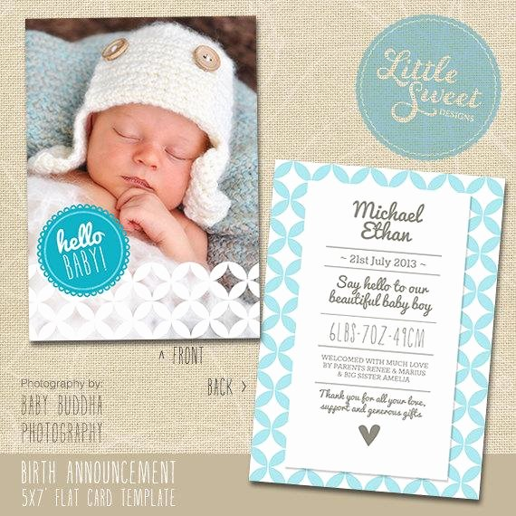 Free Birth Announcements Templates Beautiful 5x7 Birth Announcement Template Baby by Littlesweetdesigns On Etsy