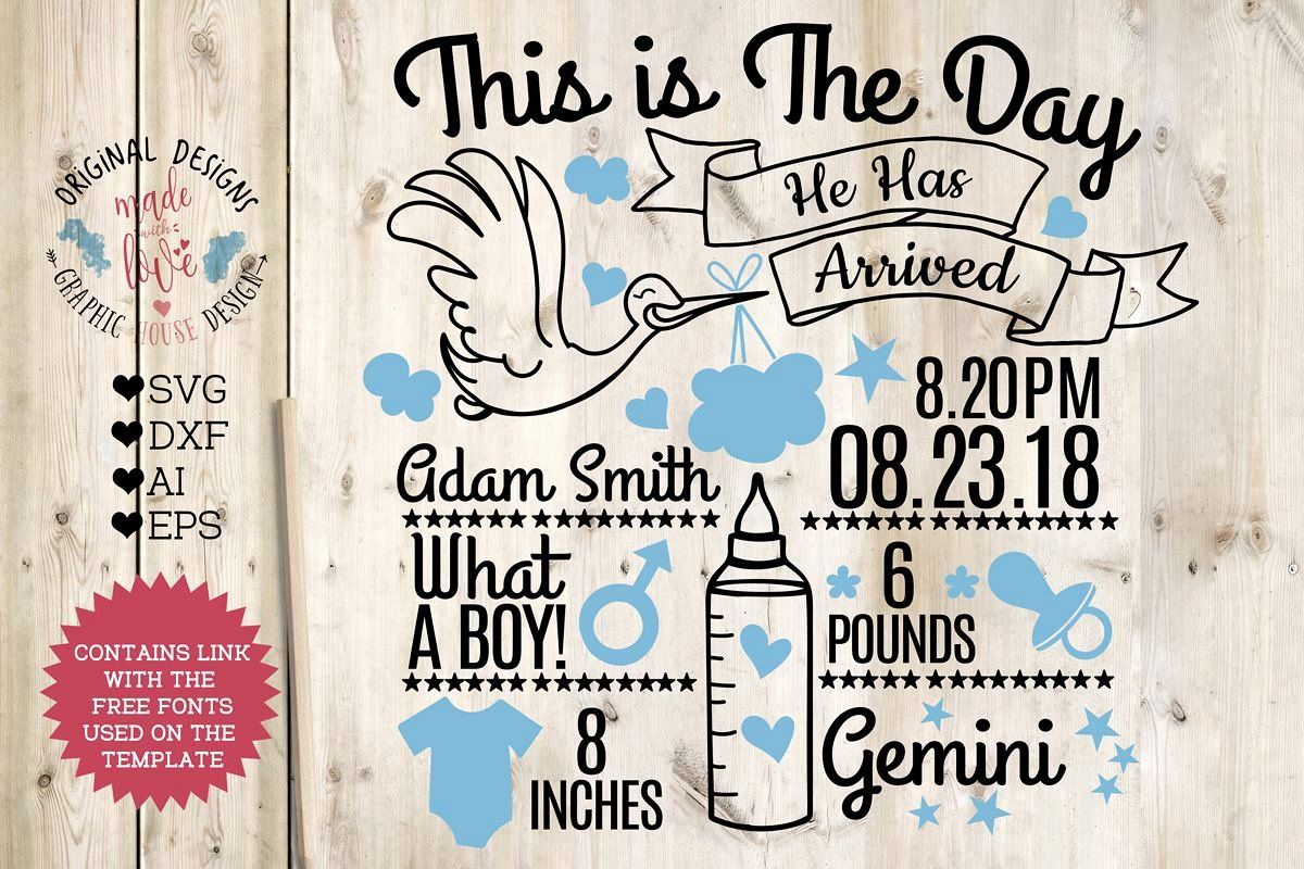 Free Birth Announcements Templates Beautiful Baby Boy Birth Announcement Chart In Svg Dxf Eps Ai