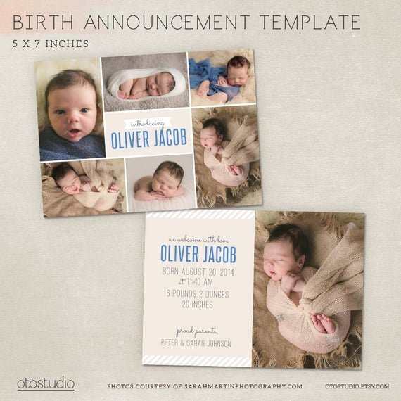 Free Birth Announcements Templates Beautiful Birth Announcement Template Modern Collage Cb009 Psd