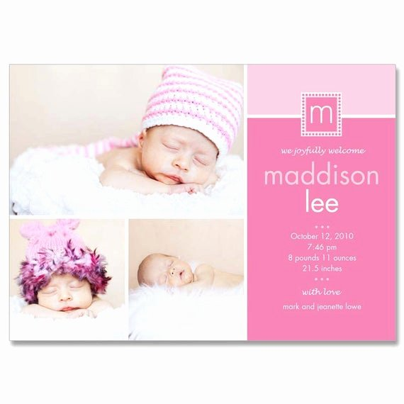 Free Birth Announcements Templates Best Of Baby Girl Madison 5x7 Birth Announcement Grapher