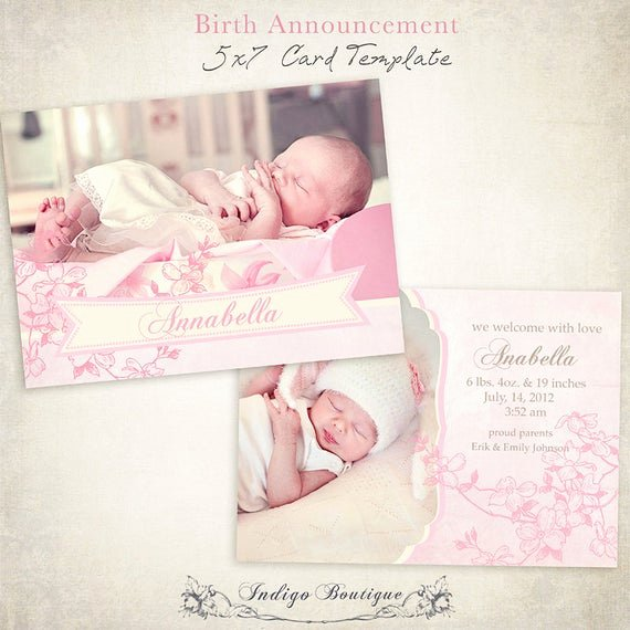 Free Birth Announcements Templates Best Of Items Similar to Birth Announcement Template 7x5 Card Sweet Baby 003 Id003 Instant