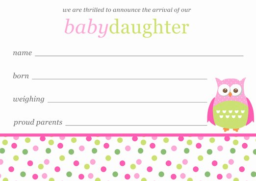 Free Birth Announcements Templates Lovely Baby Girl Birth Announcements Template Free Download