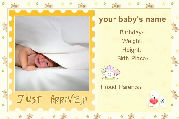 Free Birth Announcements Templates New Free Baby Birth Announcement Templates