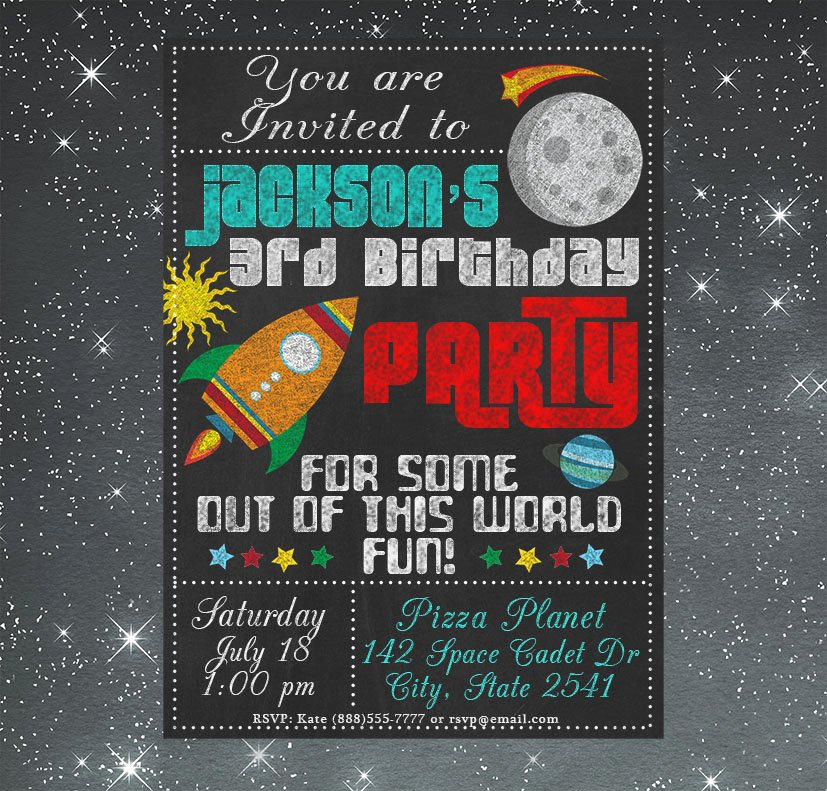 Free Birthday Chalkboard Template Awesome Chalkboard Space Birthday Invitation Graphics On
