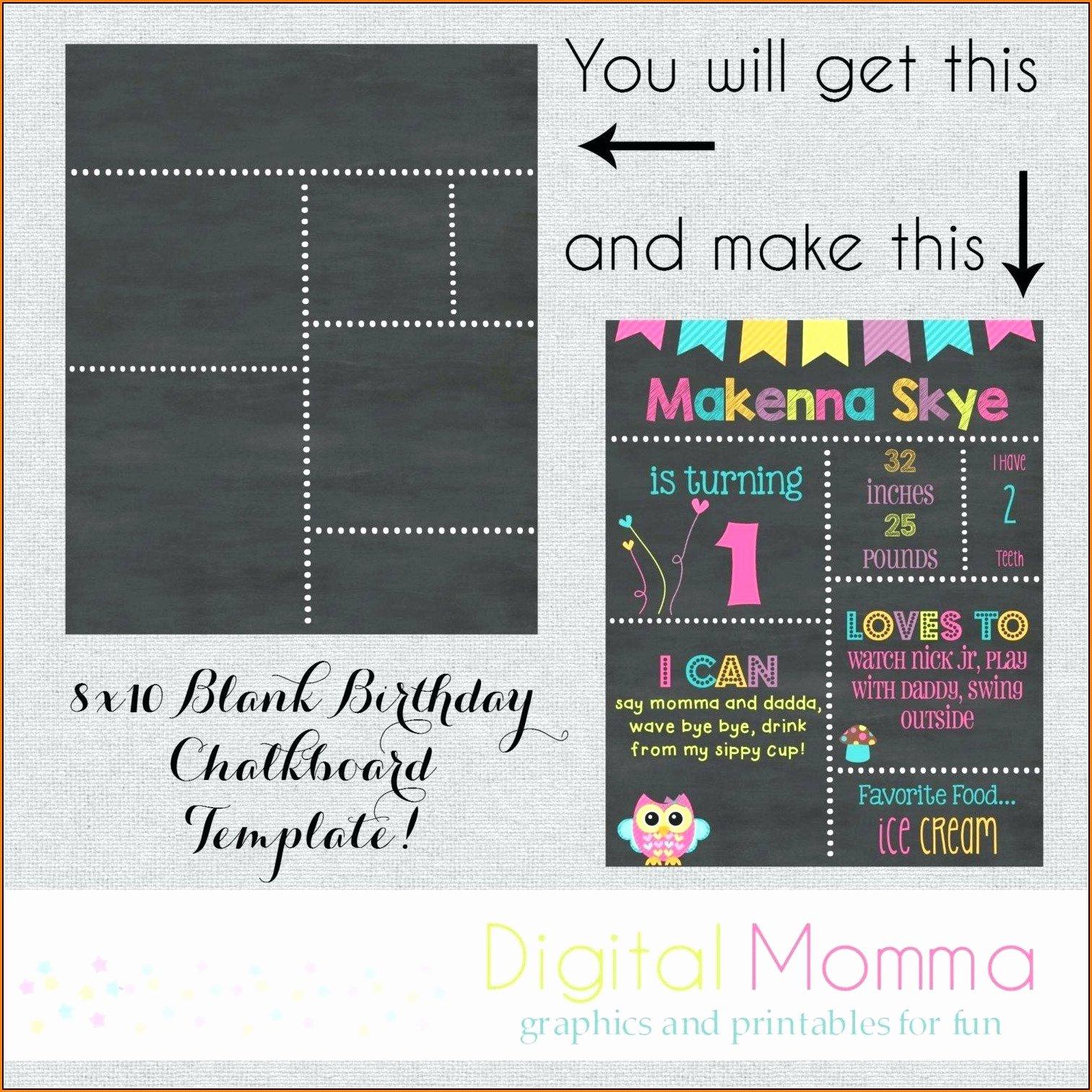 Free Birthday Chalkboard Template Inspirational 1st Birthday Chalkboard Sign Template Free Template 1