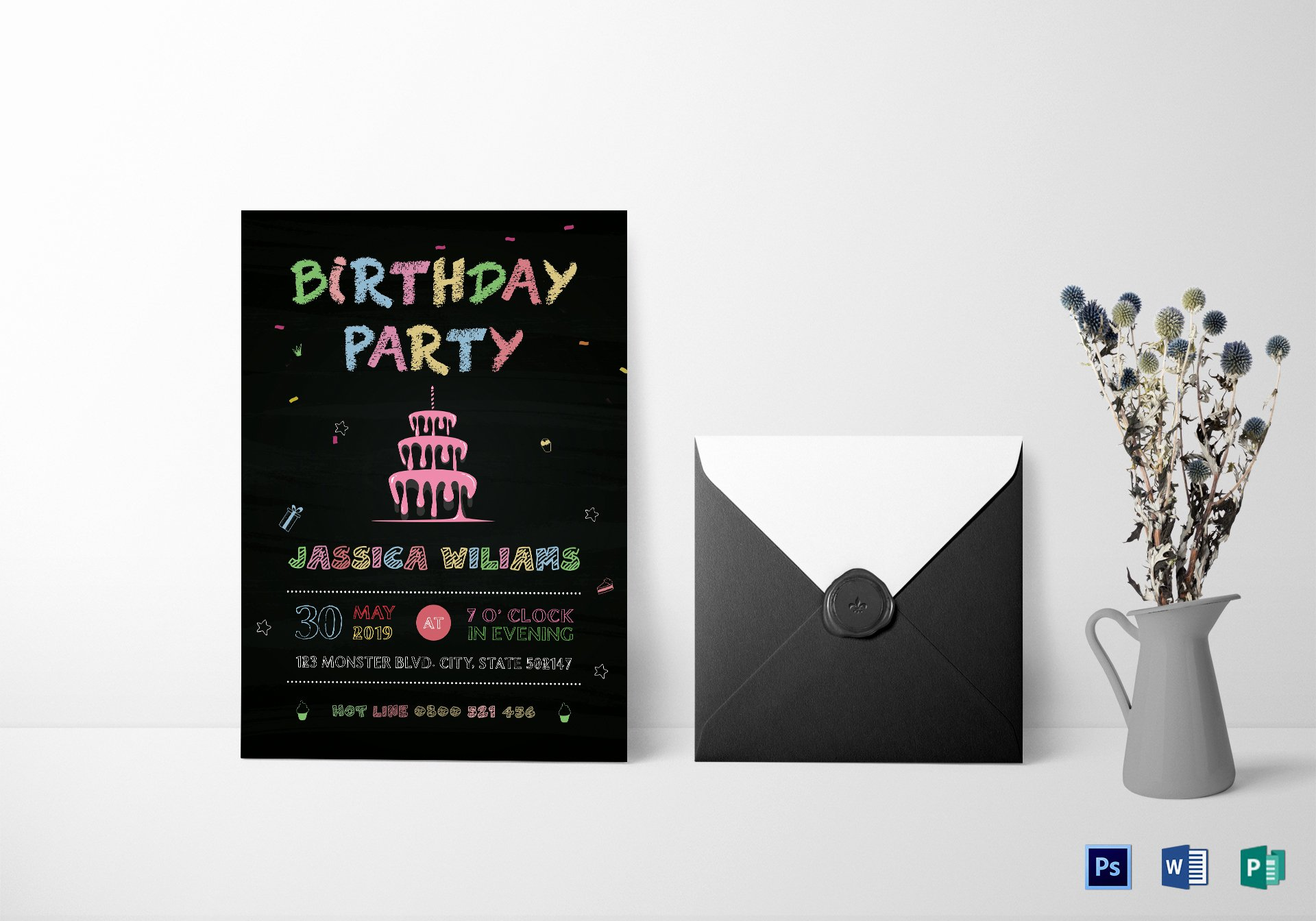 Free Birthday Chalkboard Template Inspirational Chalkboard Birthday Party Invitation Design Template In