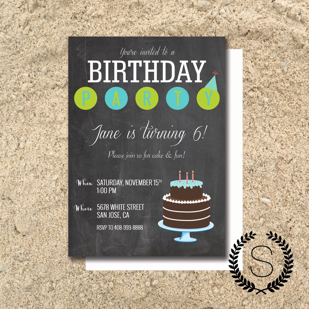 Free Birthday Chalkboard Template Lovely Chalkboard Birthday Party Invititation Chalkboard Invitation