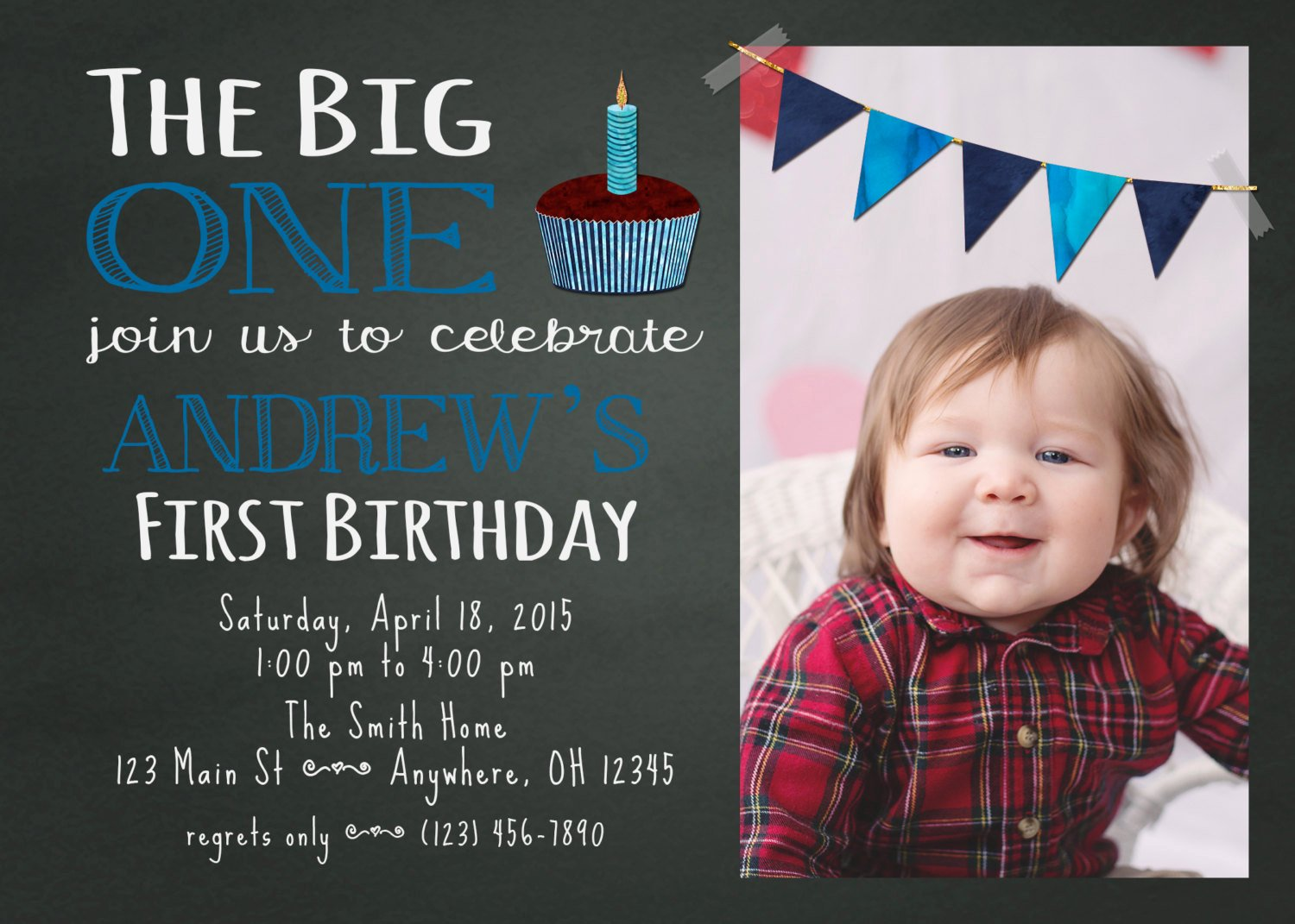 Free Birthday Chalkboard Template Lovely Chalkboard First Birthday Invitation Template by