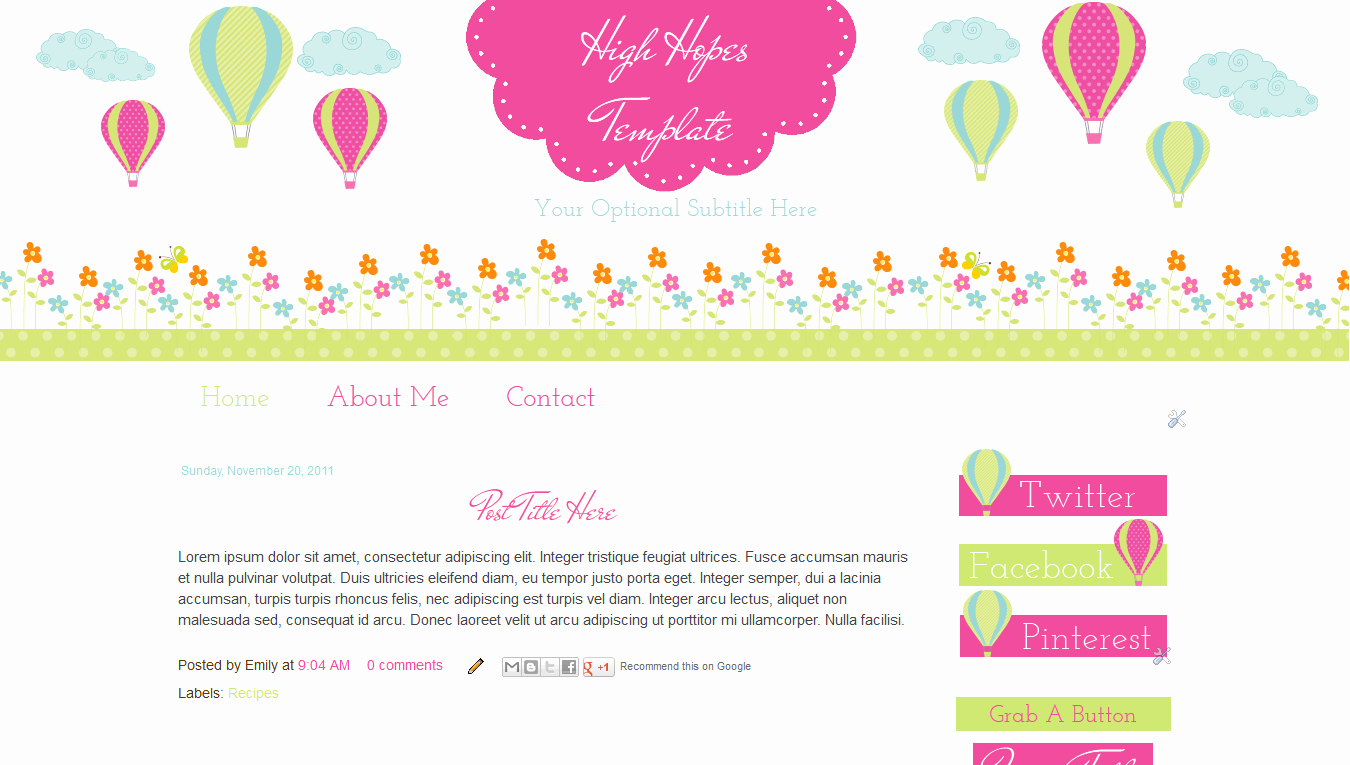 Free Blogger Templates for Teachers Awesome Blog Templates for Teachers Hot Air Balloon Pink Cute Highhopes