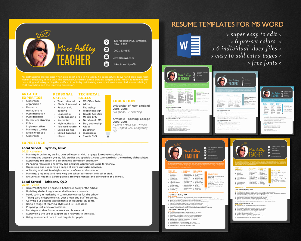 Free Blogger Templates for Teachers Awesome Stylish 3 In 1 Teacher Word Resume Resume Templates On Creative Market