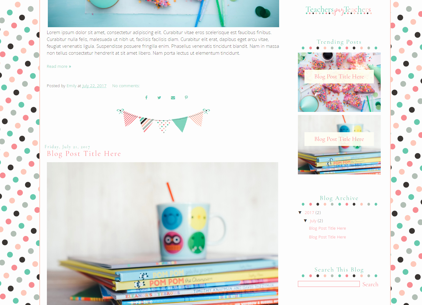 Free Blogger Templates for Teachers New Blog Template for Teachers Polka Dot Savvy In Second