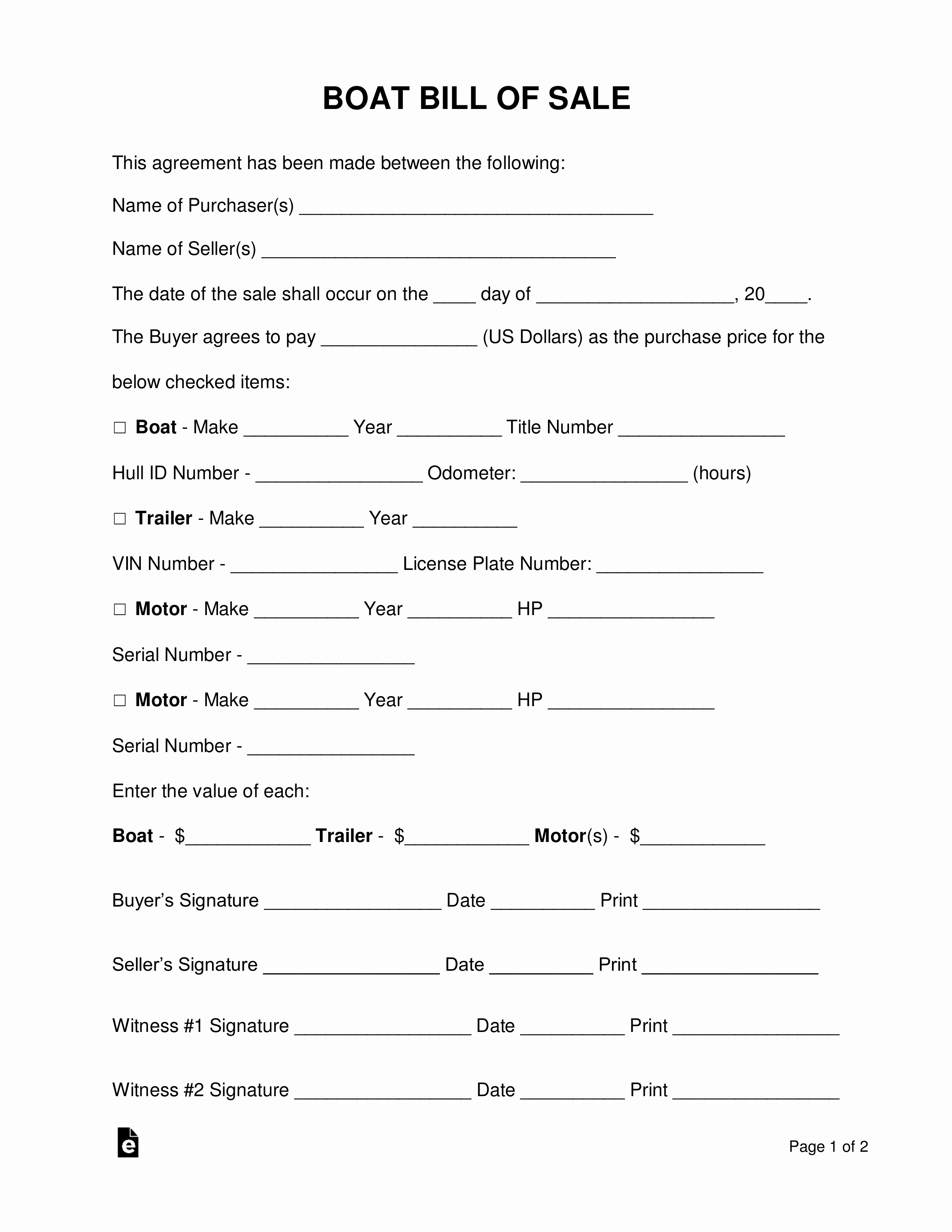 Free Boat Bill Of Sale Elegant Free Boat Vessel Bill Of Sale form Pdf Word