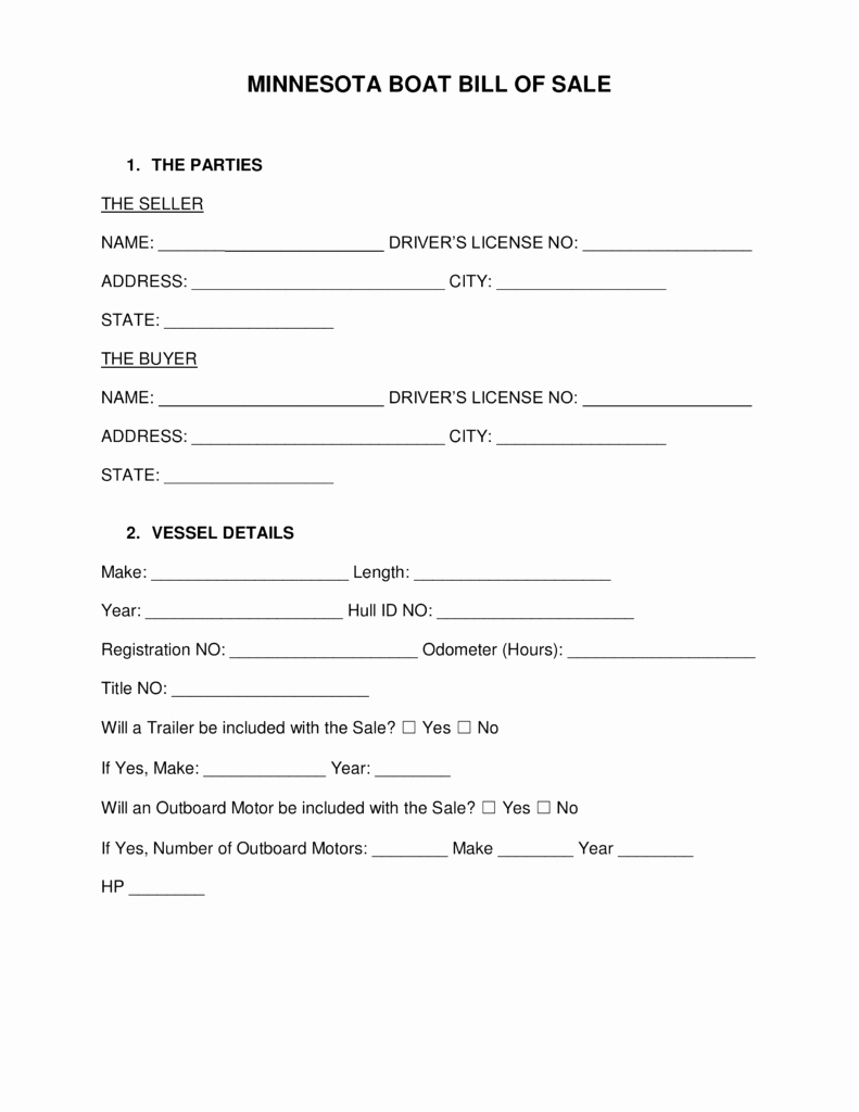 Free Boat Bill Of Sale Fresh Free Minnesota Boat Bill Of Sale form Word Pdf