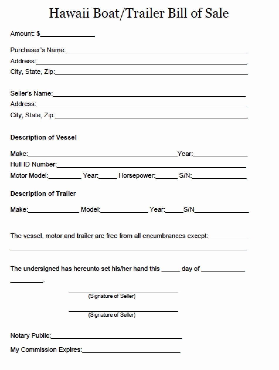Free Boat Bill Of Sale Lovely Free Hawaii Boat and Trailer Bill Of Sale form Pdf