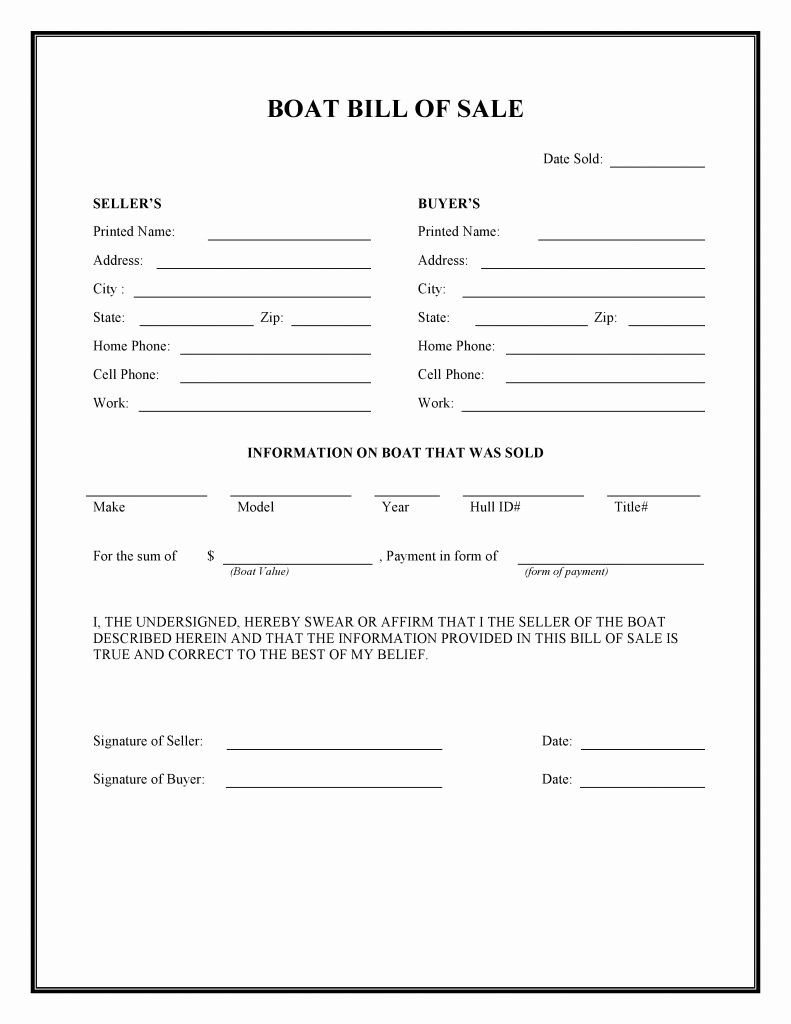 Free Boat Bill Of Sale Luxury Free Boat Bill Of Sale form Pdf Word