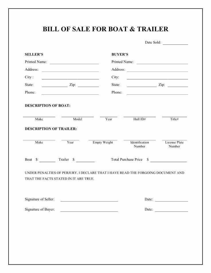 Free Boat Bill Of Sale New Free Boat & Trailer Bill Of Sale form Download Pdf Word Printables Pinterest