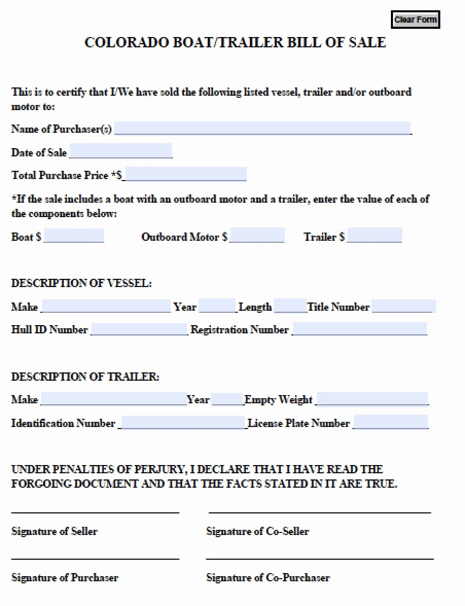 Free Boat Bill Of Sale New Free Colorado Boat Trailer Bill Of Sale form Pdf