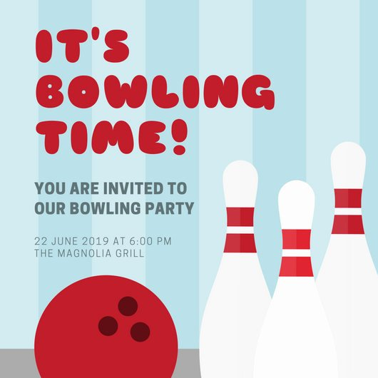 Free Bowling Invitation Template Awesome Blue Stripes Bowling Party Invitation Templates by Canva
