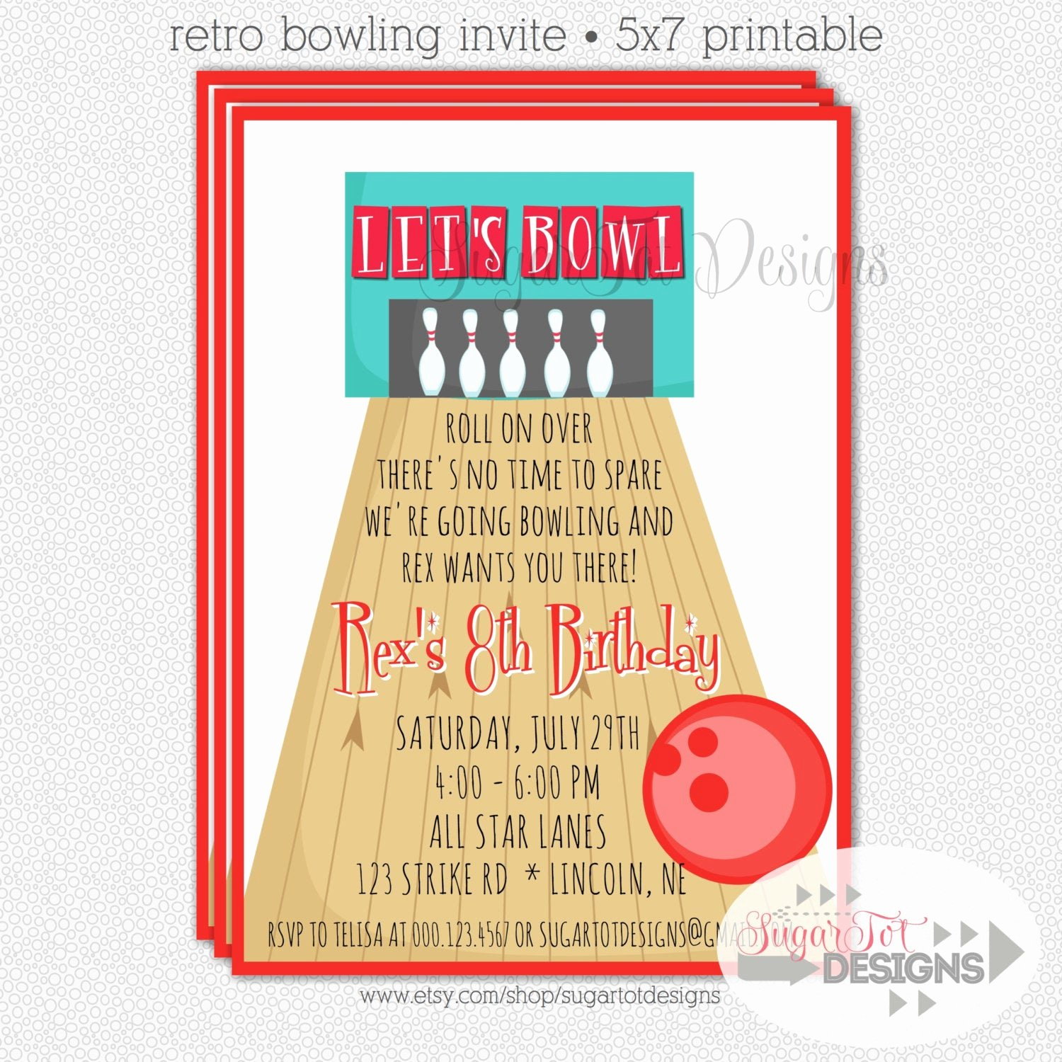 Free Bowling Party Invitations Awesome Bowling Party Invitation Retro Bowling Party by Sugartotdesigns