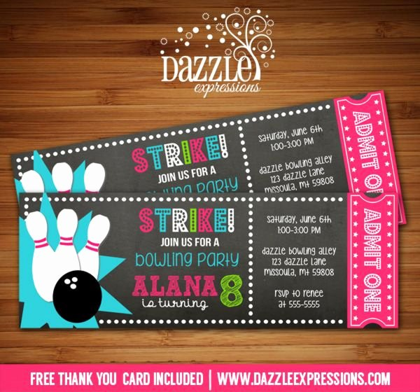 Free Bowling Party Invitations Lovely Printable Chalkboard Girl Bowling Ticket Birthday Invitation Digital File