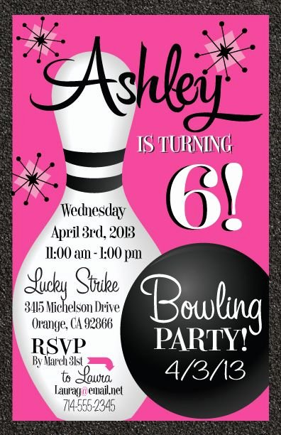 Free Bowling Party Invitations Lovely Teen Party Favors Bowling