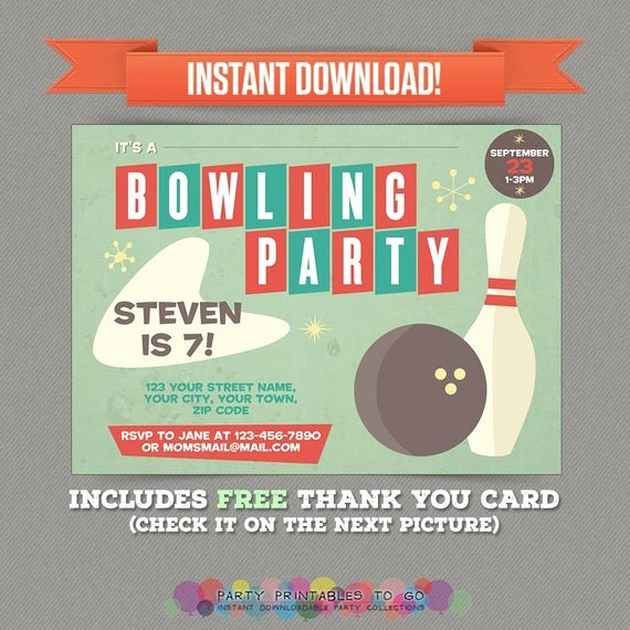 Free Bowling Party Invitations Unique Vintage Bowling Birthday Party Printable Invitation with Free