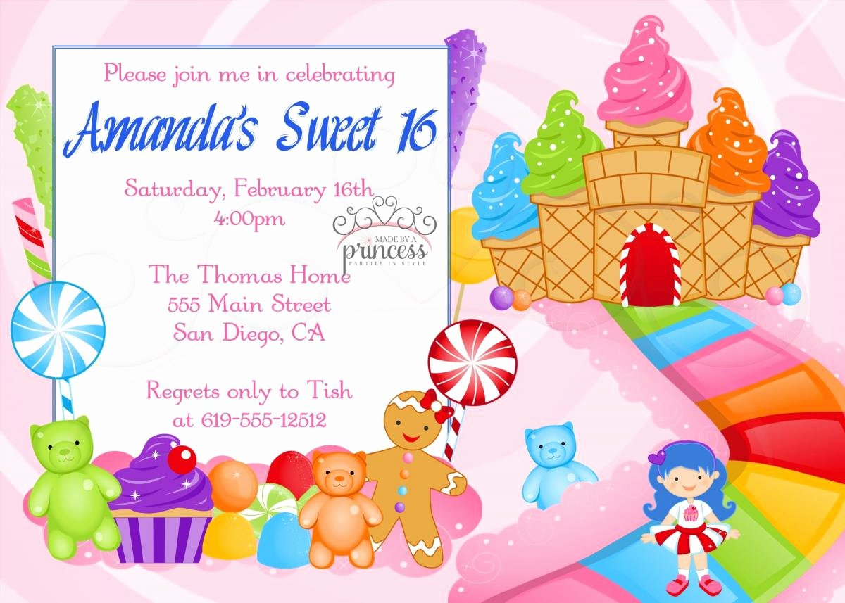 Free Candyland Invitation Template Best Of Birthday Invitation Sweet 16 Candy Candyland Printable Diy On Luulla