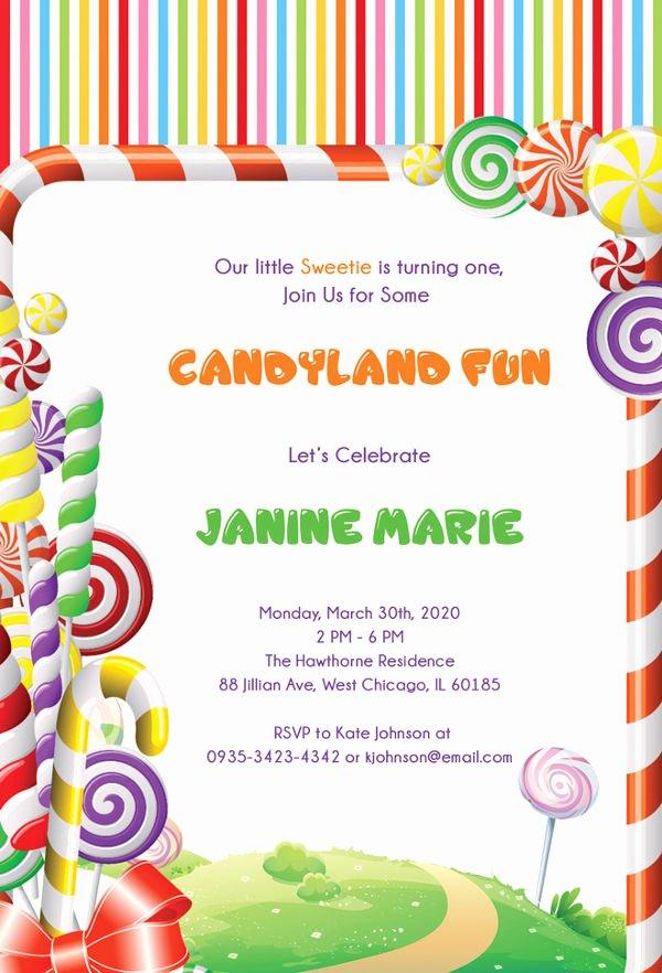 Free Candyland Invitation Template Elegant 13 Wonderful Candyland Invitation Templates